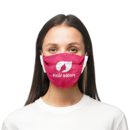 Woman with pink polyester face mask