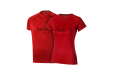 A pair of red coloured slim fit sport tshirts available at leafletsprinting.com with personalised printing options for a cheap price