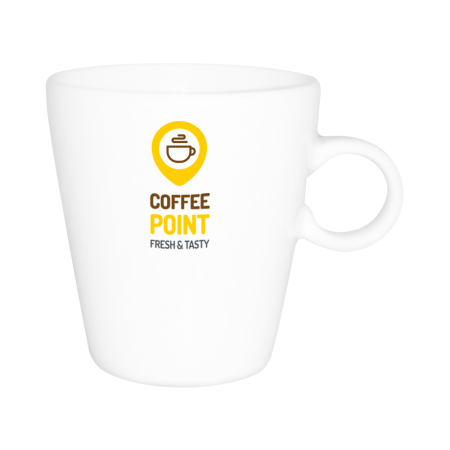 A white coloured Senseo cup with an example print available with multiple printing options for a cheap price at Helloprint