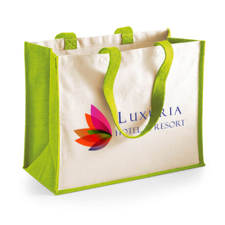 An apple green beach bag available to be printed with a custom logo or branding for a cheap price at Helloprint.