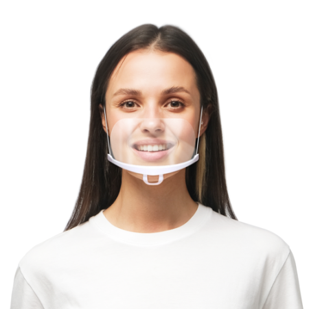 transparent half face mask worn by a woman