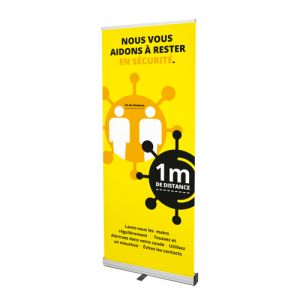 Pre-printed roller banner with COVID-19 prevention (yellow design)