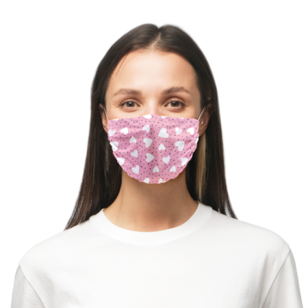 Face masks printed with a cute pink design with white hearts available online with Helloprint