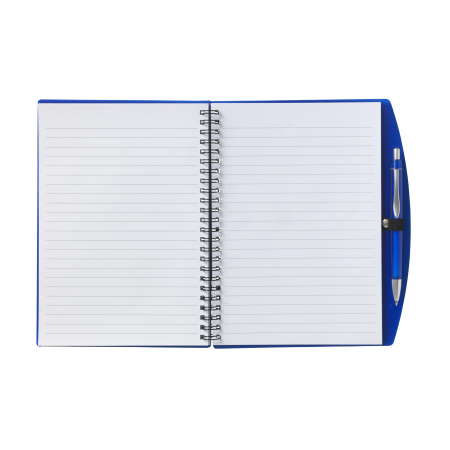 A blue opened notebook available at Helloprint with multiple printing options for cheap prices