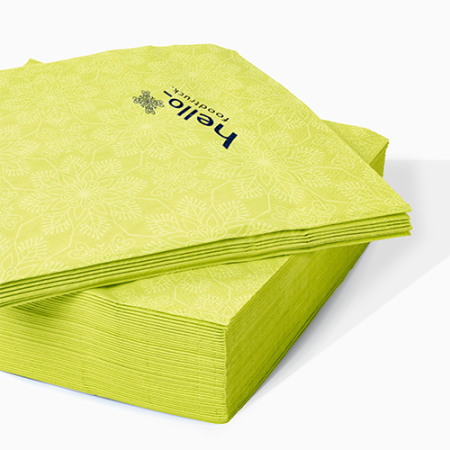 Yellow coloured printed napkins available at Helloprint with custom printing options for a cheap price