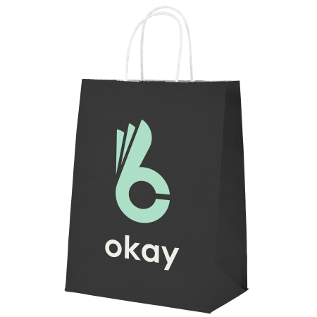 A product image of a  black coloured Okay Kraft bag available with a personalised logo or image printed on the side at HelloprintConnect