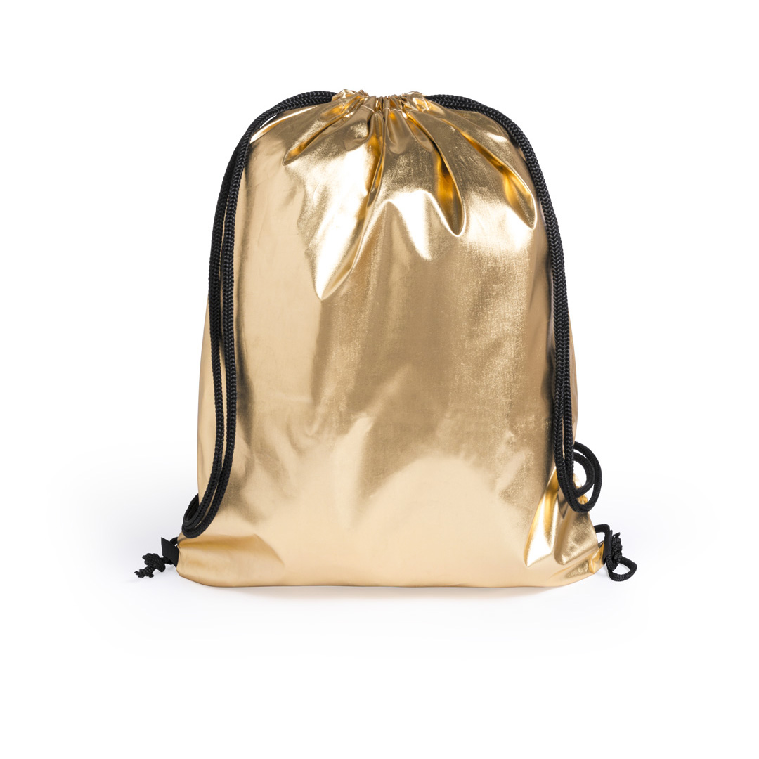 A shiny gold coloured drawstring bag available with a custom logo or image printed on the exterior at Helloprint