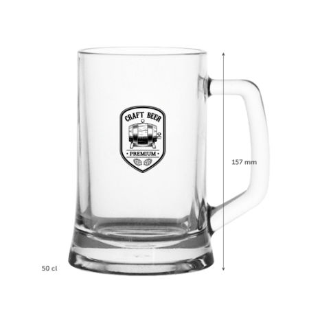 A 480 ml German beer mug available with personalised printing solutions for a cheap price at Helloprint