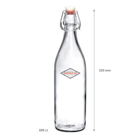 A 1 Litre cliplock glass bottle available with customised printing options for a cheap price at Helloprint