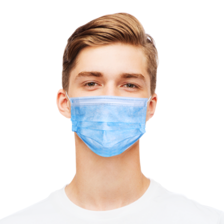 Disposable face mask blue anti-corona with elastic bands front view