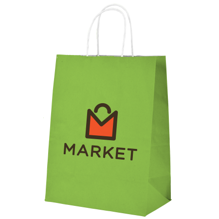 A product image of a green kraft paper bag available to be printed in full colour with a custom logo on the side at HelloprintConnect