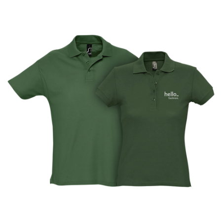 A pair of green budget polo shirts available at Drukzo with personalised printing solutions for a cheap price