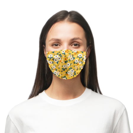 Face masks printed with a yellow flowery pattern predesigned by Helloprint