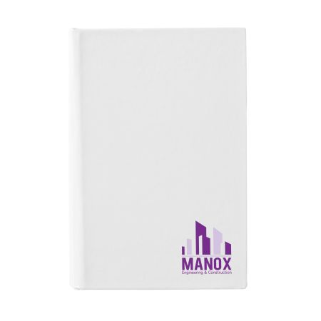 A white coloured mini Memo Notebook available with a custom logo or image printed on the exterior at Helloprint