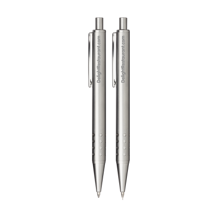 A product image of a pair of pens available to be printed with a personalised logo on the side at Helloprint