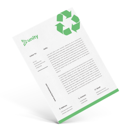 Image of a letterhead design printed on recycled paper