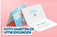 A photo card and invitation banner highlighting printed photo cards and invitations available at Drukstart.nl for a cheap price