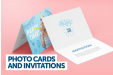 A photo card and invitation banner highlighting printed photo cards and invitations available at ocmprintstore.co.uk for a cheap price