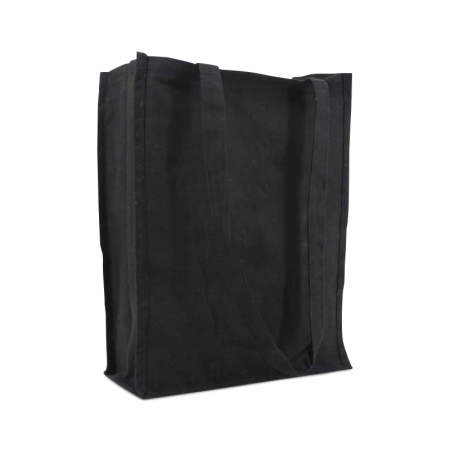 A product image of a black premium canvas bag available at Helloprint with a personalised logo or image printed on the side