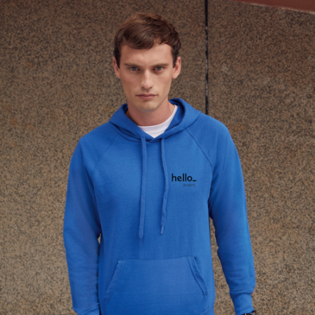 Male Promo Hoodies in blue with Front Left Side Logo Display from HelloprintConnect