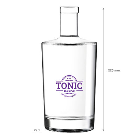 A small 75 cl glass bottle product image available with a personalised logo or image printed on the side at Helloprint