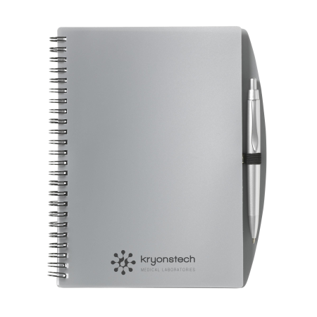 Cheap silver grey A5 notebook with pen from Helloprint. Learn more about our printed notebook products and order online.