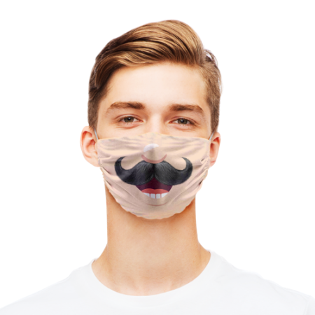 Funny face mask design with moustache print available at Helloprint