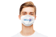 Triple layer face mask in white printed with a logo available with drukwerktotaal