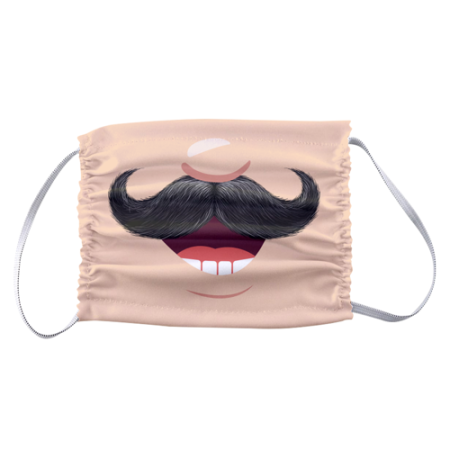 Funny moustache design printed on a protective face mask available online at Helloprint