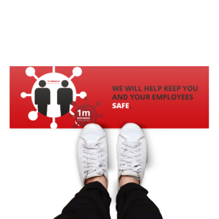 Rectangular floor sticker with a red background and the text