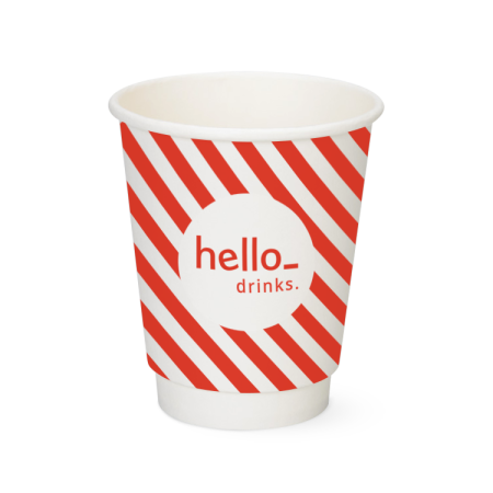 A double walled red and white coloured paper cup available with custom printing solutions at Helloprint