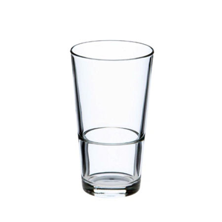 A product image of a 34 cl stackable beer glass available to be printed with a custom logo or image at Helloprint