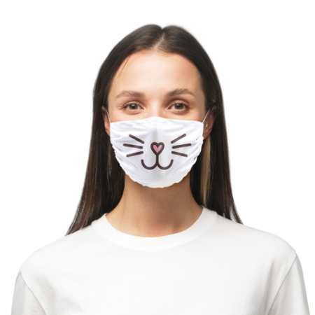 Worn microfibre face masks printed with a cute cat/rabbit mouth drawing available at Helloprint