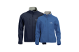 A set of blue soft shell basic jackets available with personalised printing options for a cheap price at Helloprint