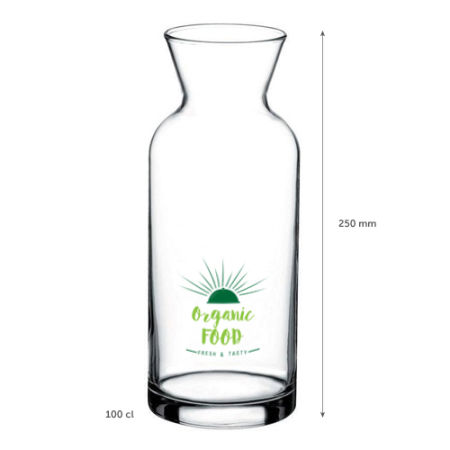 A 1 litre glas jug available with personalised printing solutions for a cheap price at Helloprint