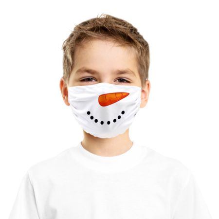 A boy wearing a snowman printed face mask - available online at Helloprint