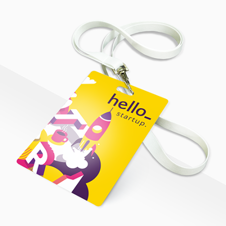 PVC card with rectangular hole. Work card. Produced by Helloprint