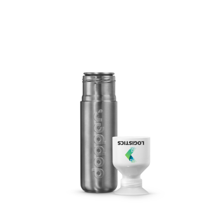 A solid steel Dopper water bottle available to be printed with a custom logo and text at Helloprint.