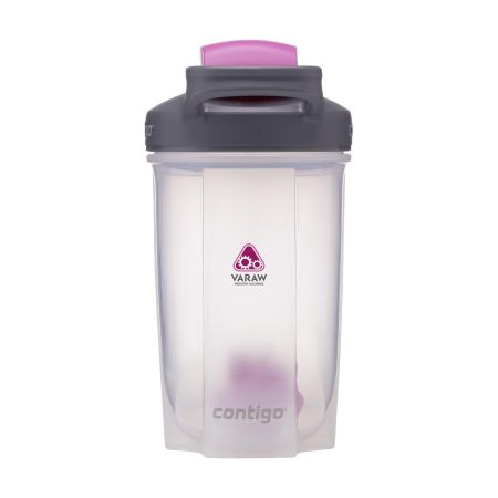 A pink coloured Contigo Shake & Go shaker bottle available at Helloprint with customised printing solutions for cheap prices