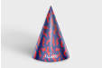 Purple and red printed party hat