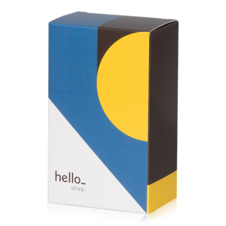 A sample image of a box with flaps available at Helloprint with a custom logo or image printed on the cover.