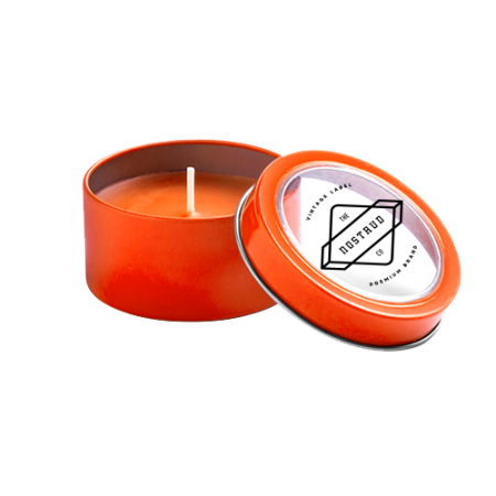 Cheap orange candle in metallic box with Helloprint. You can personalise the candle lid with your logo, design, or text.