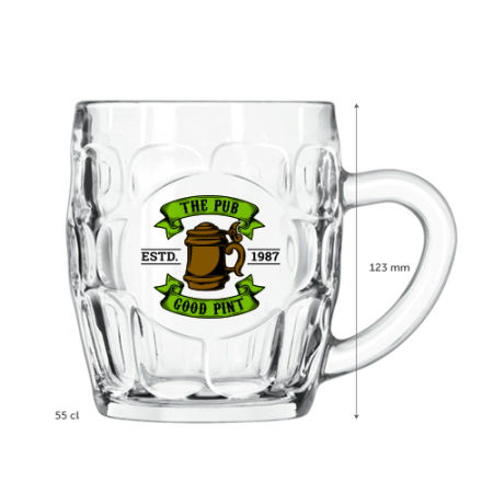 A product image of a 55 cl Apres Ski beer mug available with a custom logo or image printed on the side at Helloprint