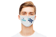 A reusable face mask with certified filter with personalised print available at 1-2-3druk.nl
