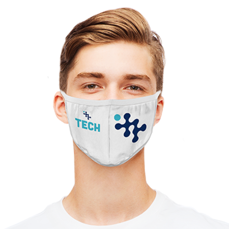 A reusable face mask with certified filter with personalised print available at Drukzo