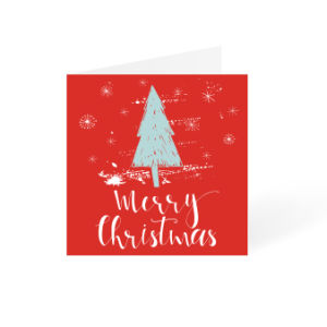 Green Christmas tree with red background and snow square design | Helloprint