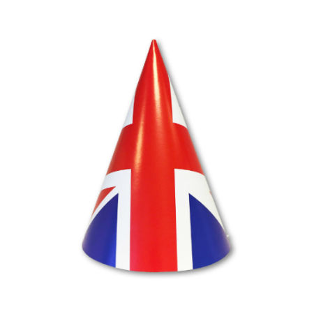 A british flag printed on a party hat, available for a cheap price at Helloprint