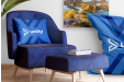 Image of a personalised home interior decorations, including a customized cushion, printed canvas and a branded bean bag chair.