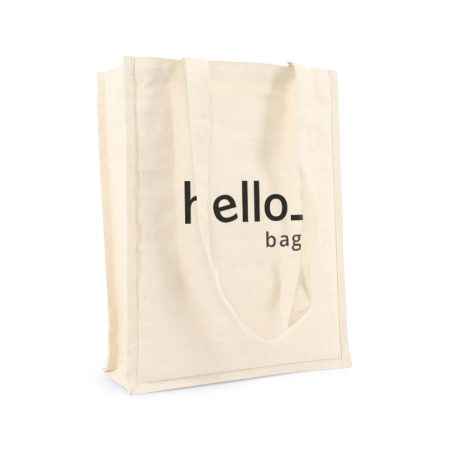 A beige coloured premium Canvas bag available with personalised cheap printing solutions at Helloprint