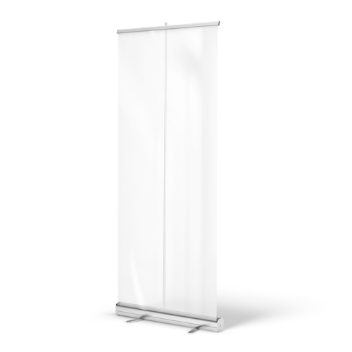 Roll-up banners met transparante folie met logo